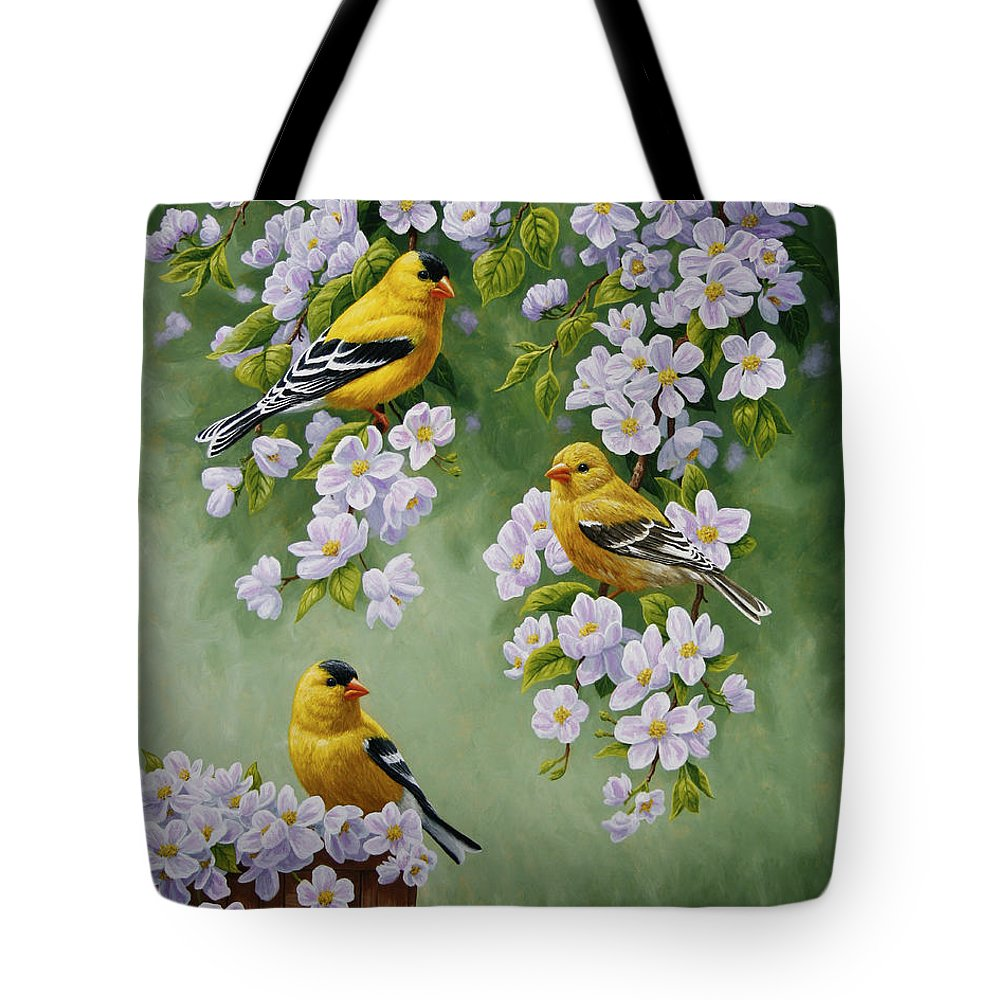 Bird Tote Bag featuring the painting American Goldfinches And Apple Blossoms by Crista Forest