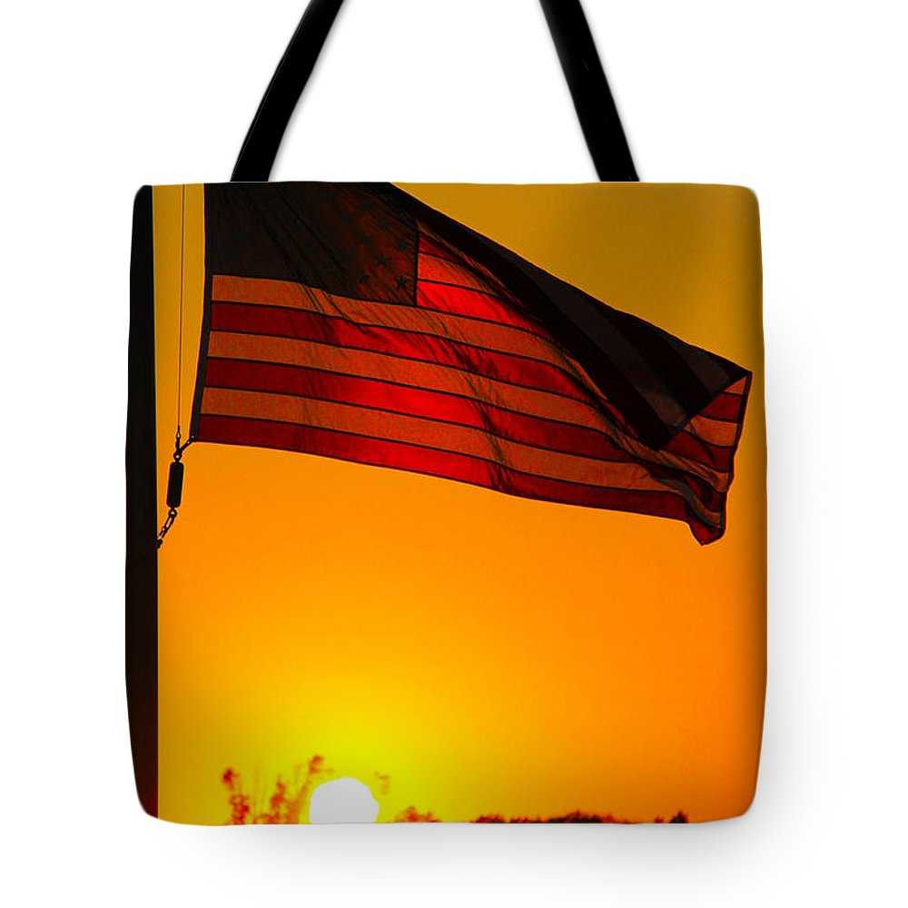 American Flag Tote Bag featuring the photograph American Heritage by Mitch Cat