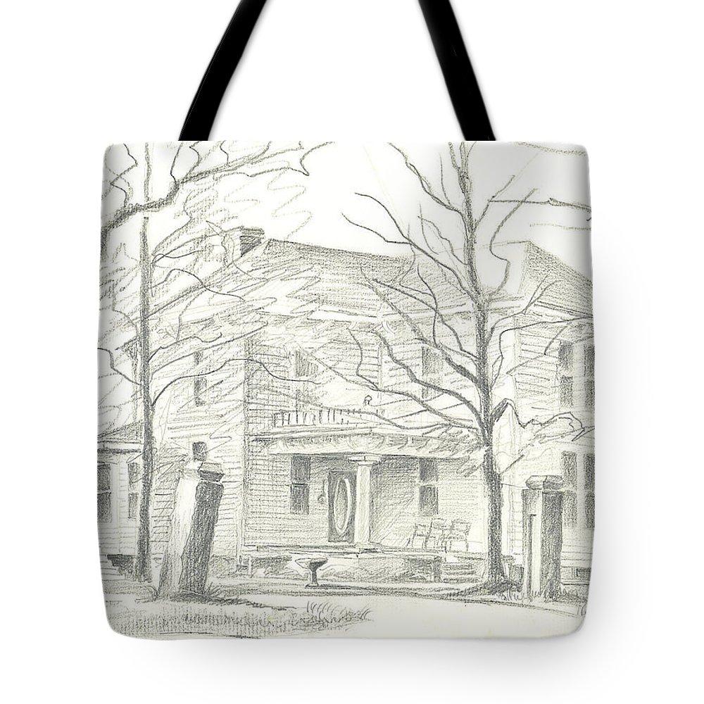 American Home Ii Tote Bag featuring the drawing American Home II by Kip DeVore