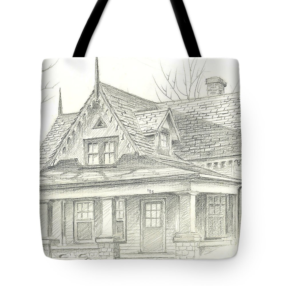 American Home Tote Bag featuring the drawing American Home by Kip DeVore