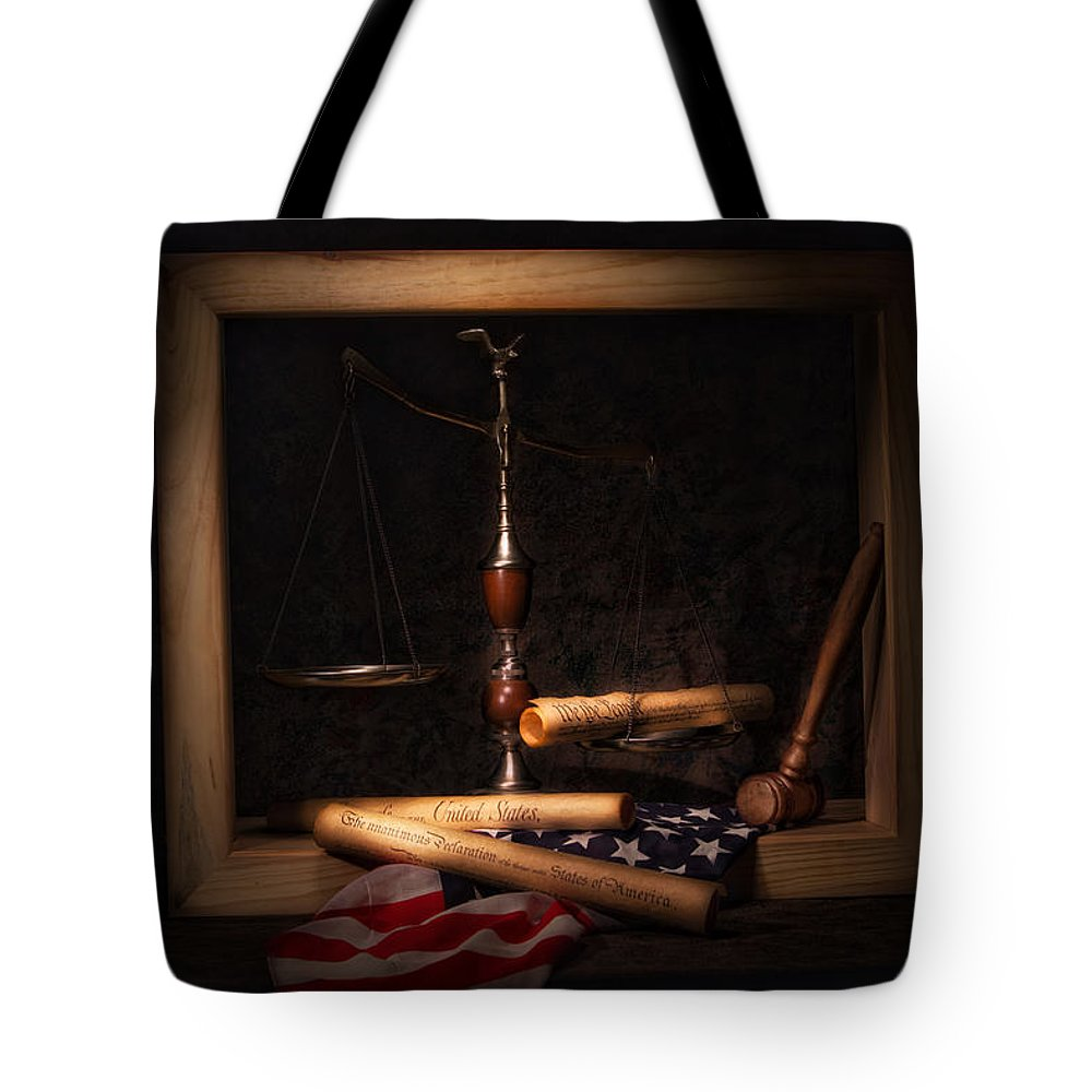 Scale Of Justice Tote Bags