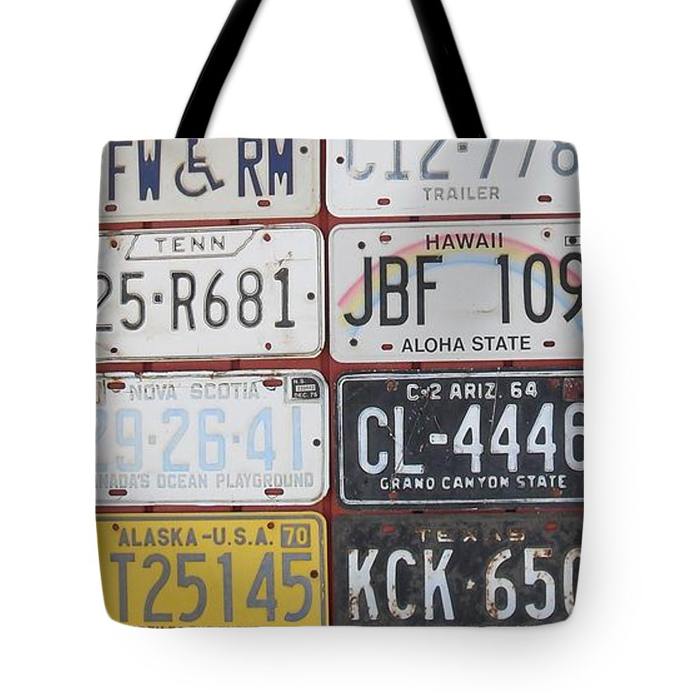 License Plates Tote Bag featuring the photograph American License Plates by Donna Wilson