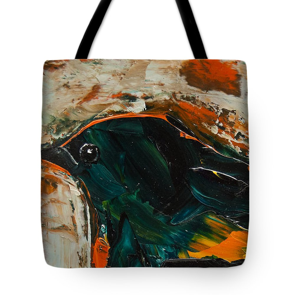 American Redstart Tote Bag featuring the painting American Redstart by Jani Freimann