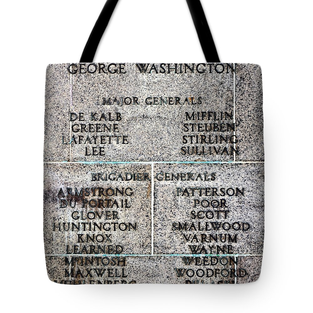 Military Tote Bag featuring the photograph American Revolutionary War Generals by Olivier Le Queinec