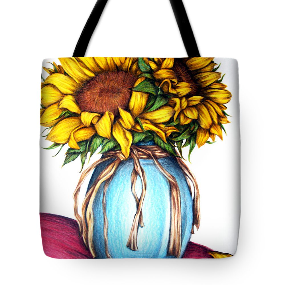 Sunflower Tote Bag featuring the drawing American Rustic by Derrick Bruno-Rathgeber