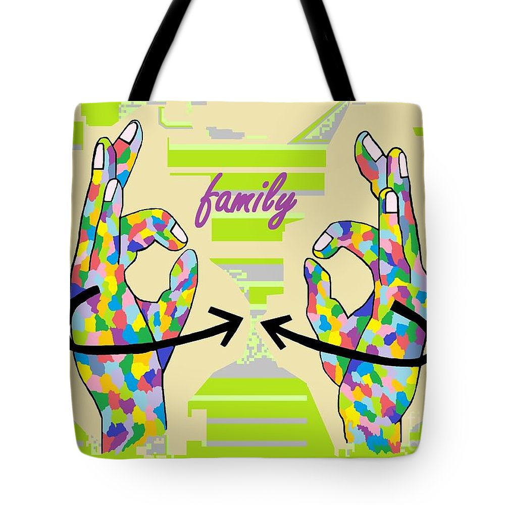 American Sign Language Tote Bag featuring the painting American Sign Language Family                          by Eloise Schneider Mote