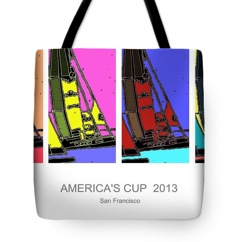 Pop Art Tote Bag featuring the digital art America's Cup Poster 3 by Andrew Drozdowicz