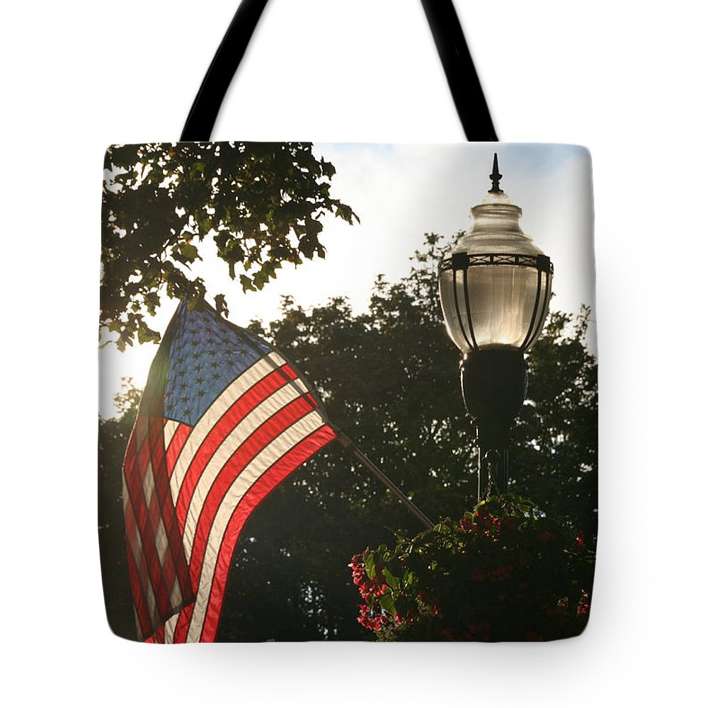 Flag Tote Bag featuring the photograph America's Downtown by Susan Herber