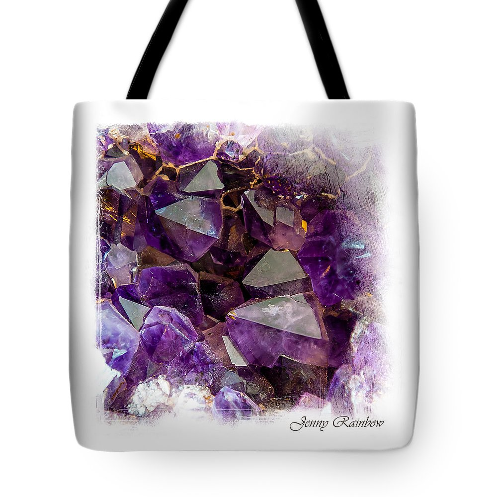 Amethyst Tote Bag featuring the photograph Amethyst Crystals. Elegant Knickknacks From Jenny Rainbow by Jenny Rainbow