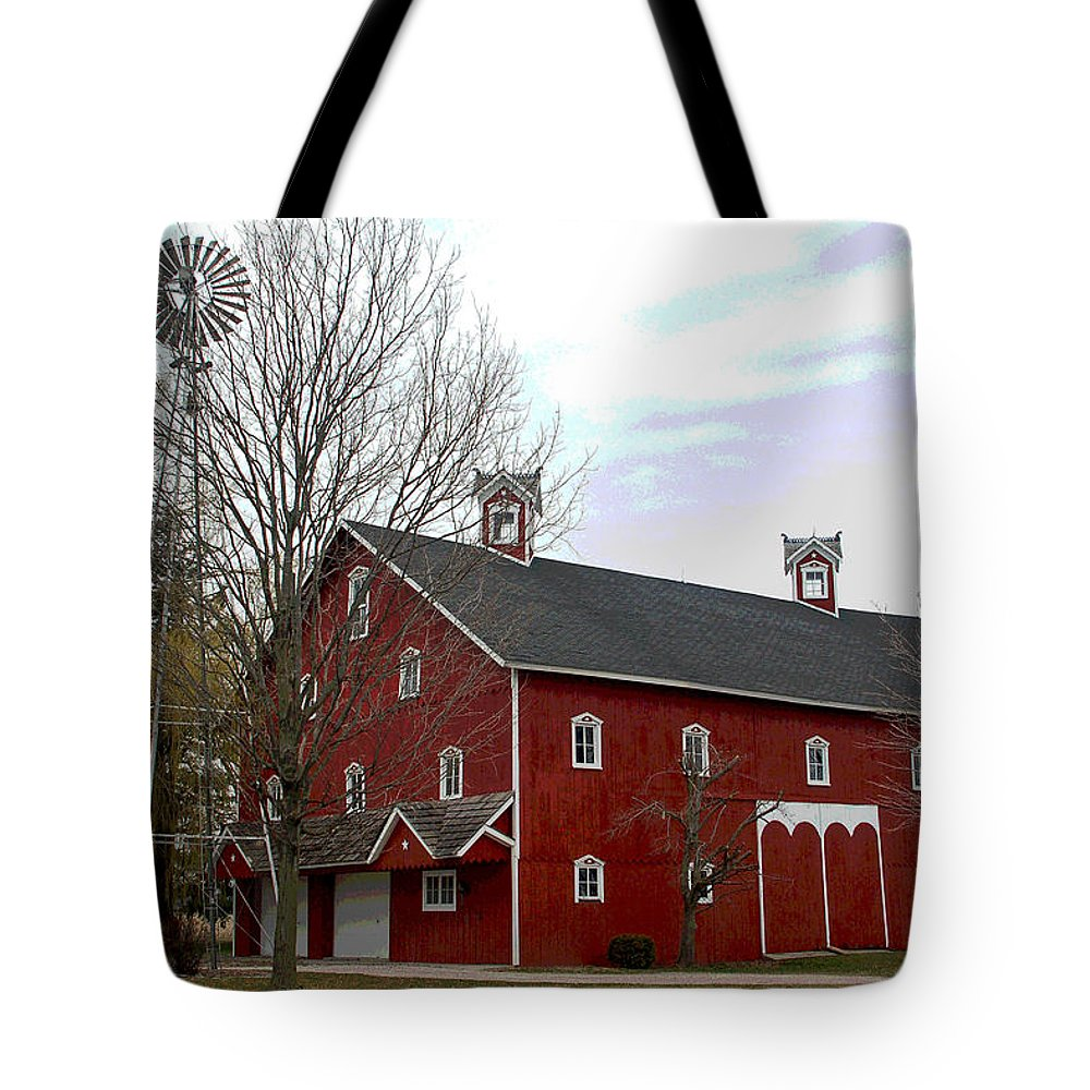 Amish Barn Tote Bag featuring the photograph Amish Barn And Wind Mill - Allen County Indiana by Suzanne Gaff