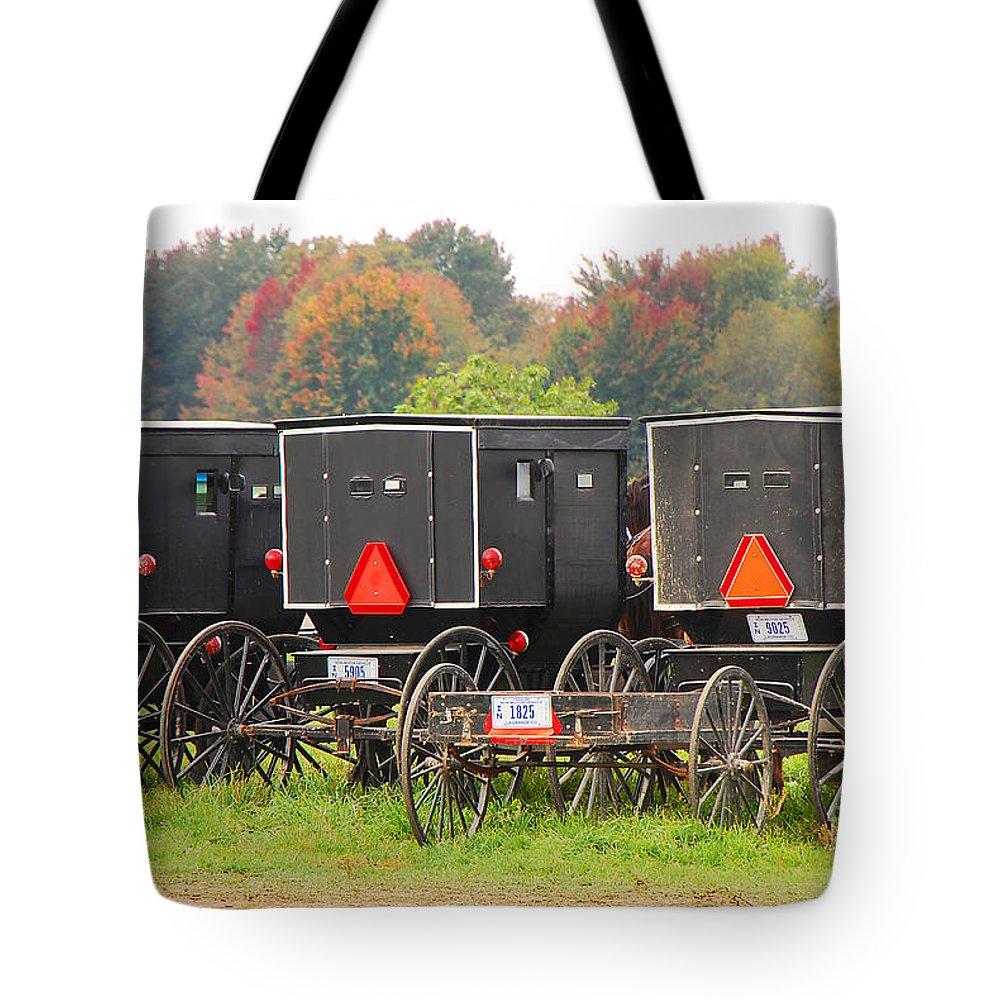 Rural Tote Bag featuring the photograph Amish Buggies 2 by Mary Carol Story