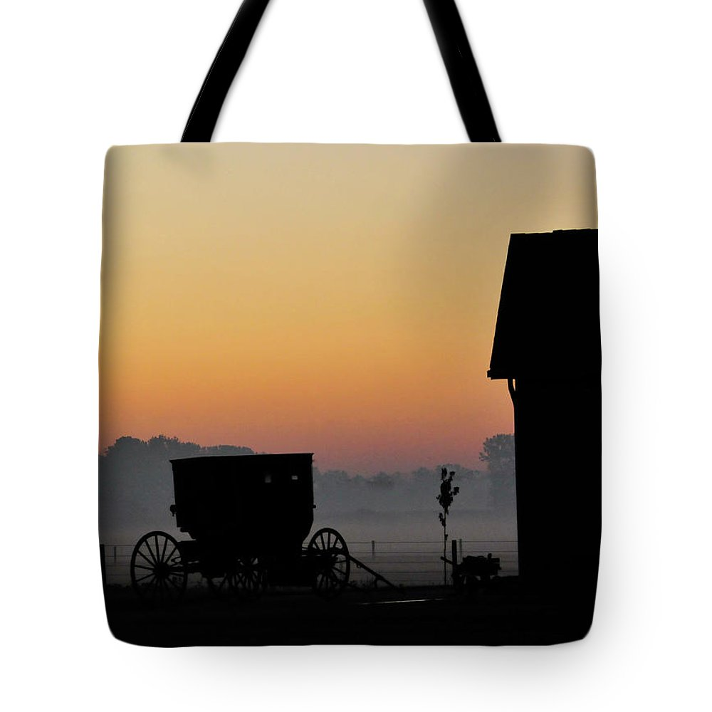 Amish Buggy Tote Bag featuring the photograph Amish Buggy Before Dawn by David Arment