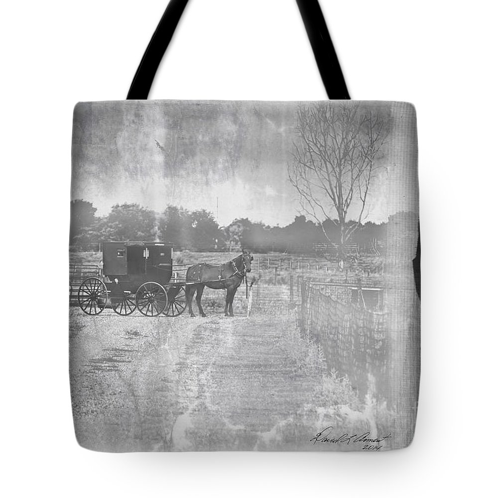 Amish Tote Bag featuring the photograph Amish Buggy In Old Book by David Arment