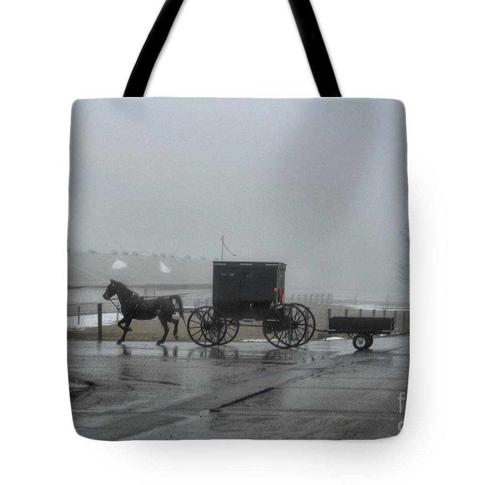 Amish Tote Bag featuring the photograph Amish Buggy Winter Day by David Arment