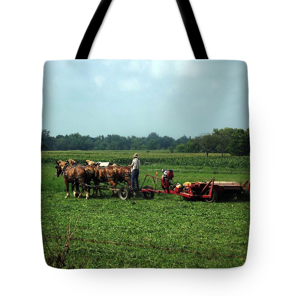 Amish Tote Bag featuring the photograph Amish Field Work by Joyce Wasser