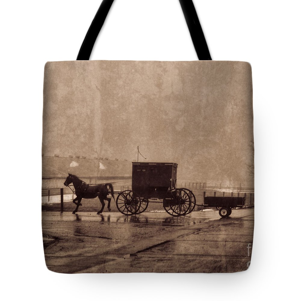 Amish Tote Bag featuring the photograph Amish Horse And Buggy With Wagon Bw by David Arment