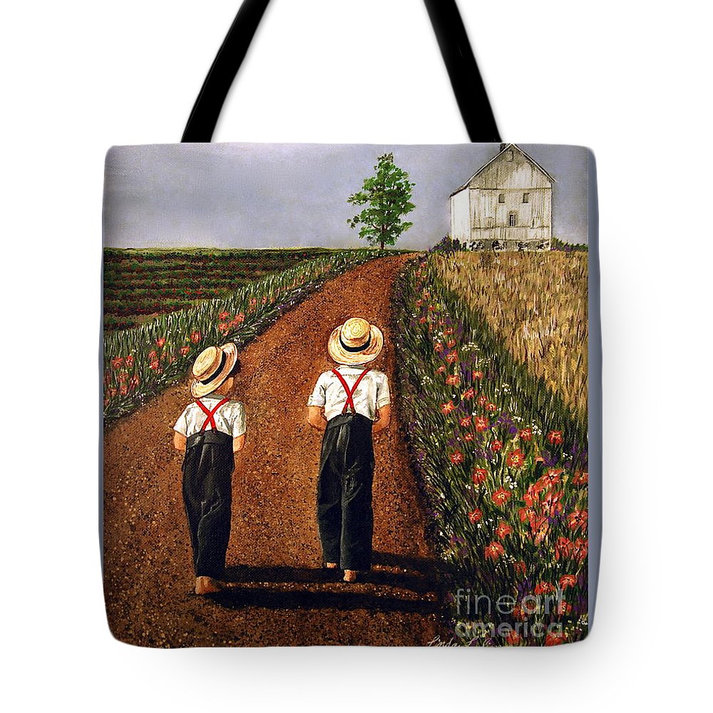 Lifestyle Tote Bag featuring the painting Amish Road by Linda Simon