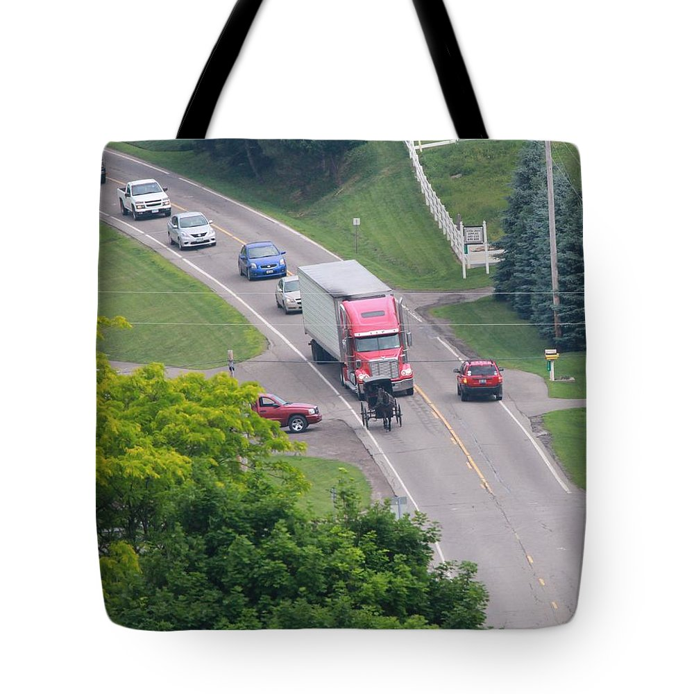 Amish Traffic Jam Tote Bag featuring the photograph Amish Traffic Jam by Dan Sproul