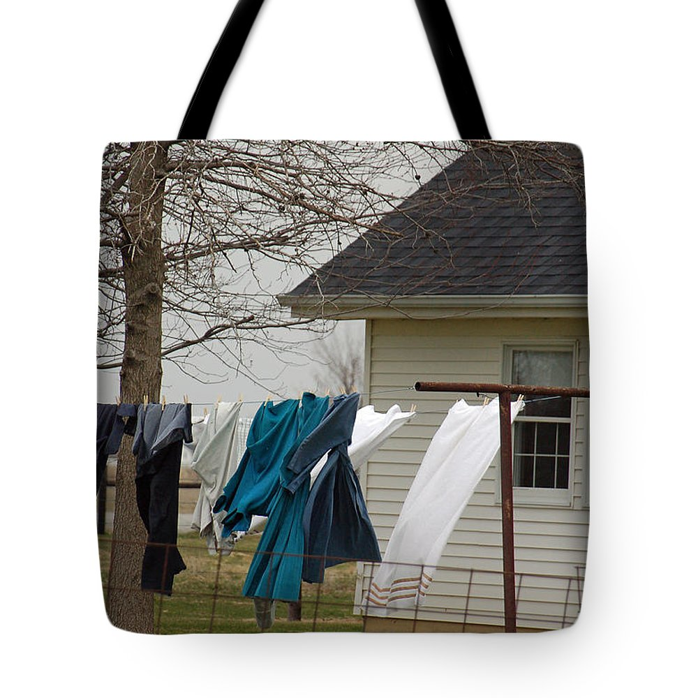 Clothesline Tote Bag featuring the photograph Amish Washday - Allen County Indiana by Suzanne Gaff