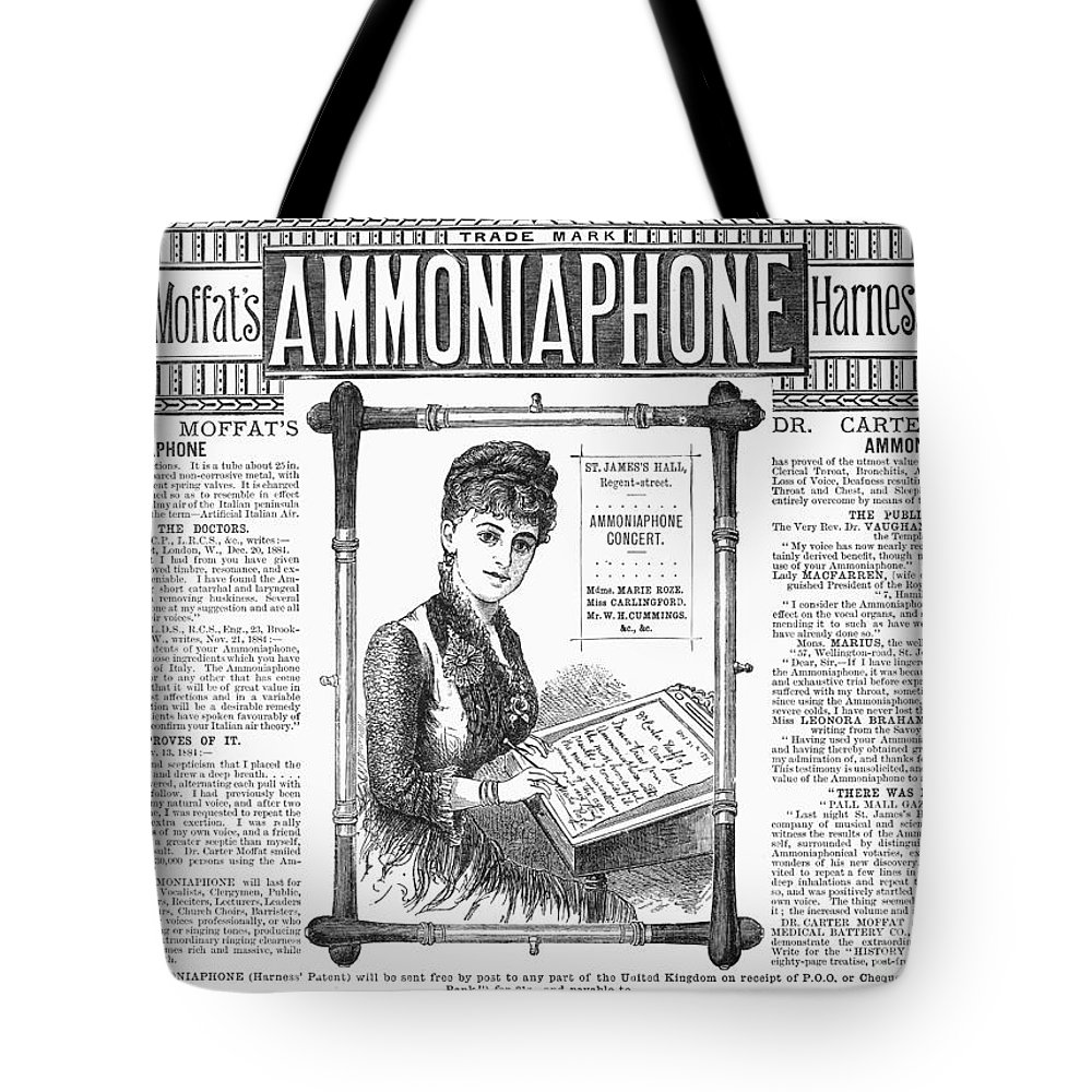 1885 Tote Bag featuring the photograph Ammoniaphone, 1885 by Granger