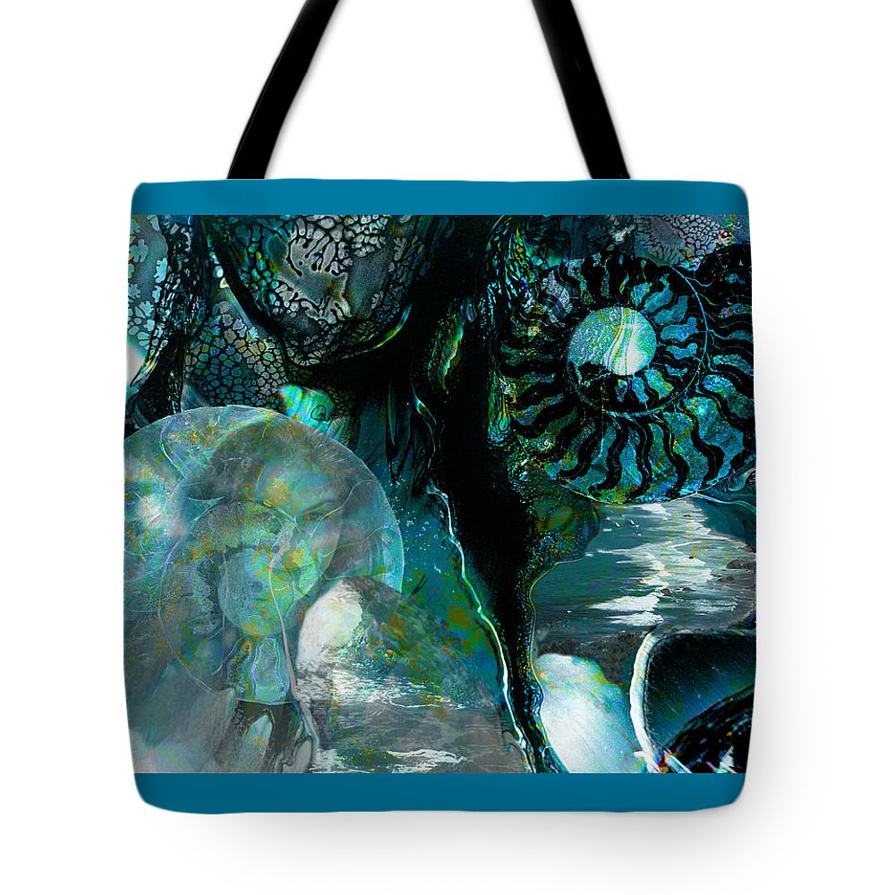 Ocean Tote Bag featuring the digital art Ammonite Seascape by Lisa Yount