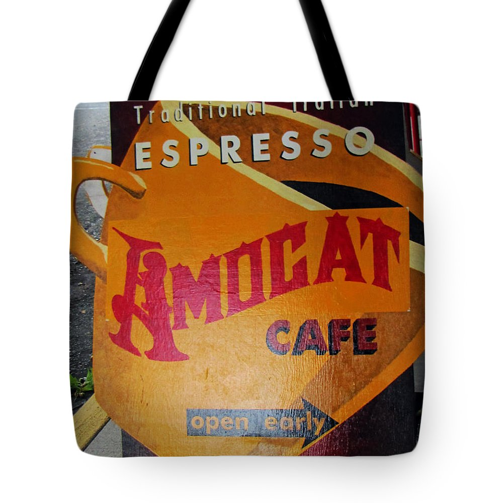 Espresso Tote Bag featuring the photograph Amocat Cafe by Tikvah's Hope
