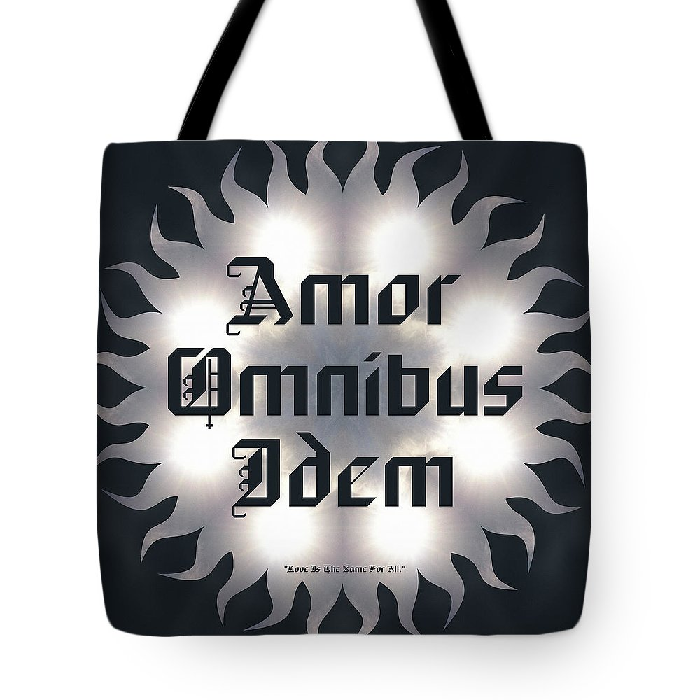 Sacredlife Mandalas Tote Bag featuring the digital art Amor Omnibus Idem by Derek Gedney