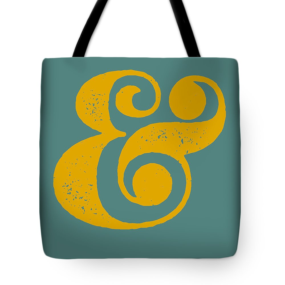 Ampersand Tote Bag featuring the digital art Ampersand Poster Blue And Yellow by Naxart Studio