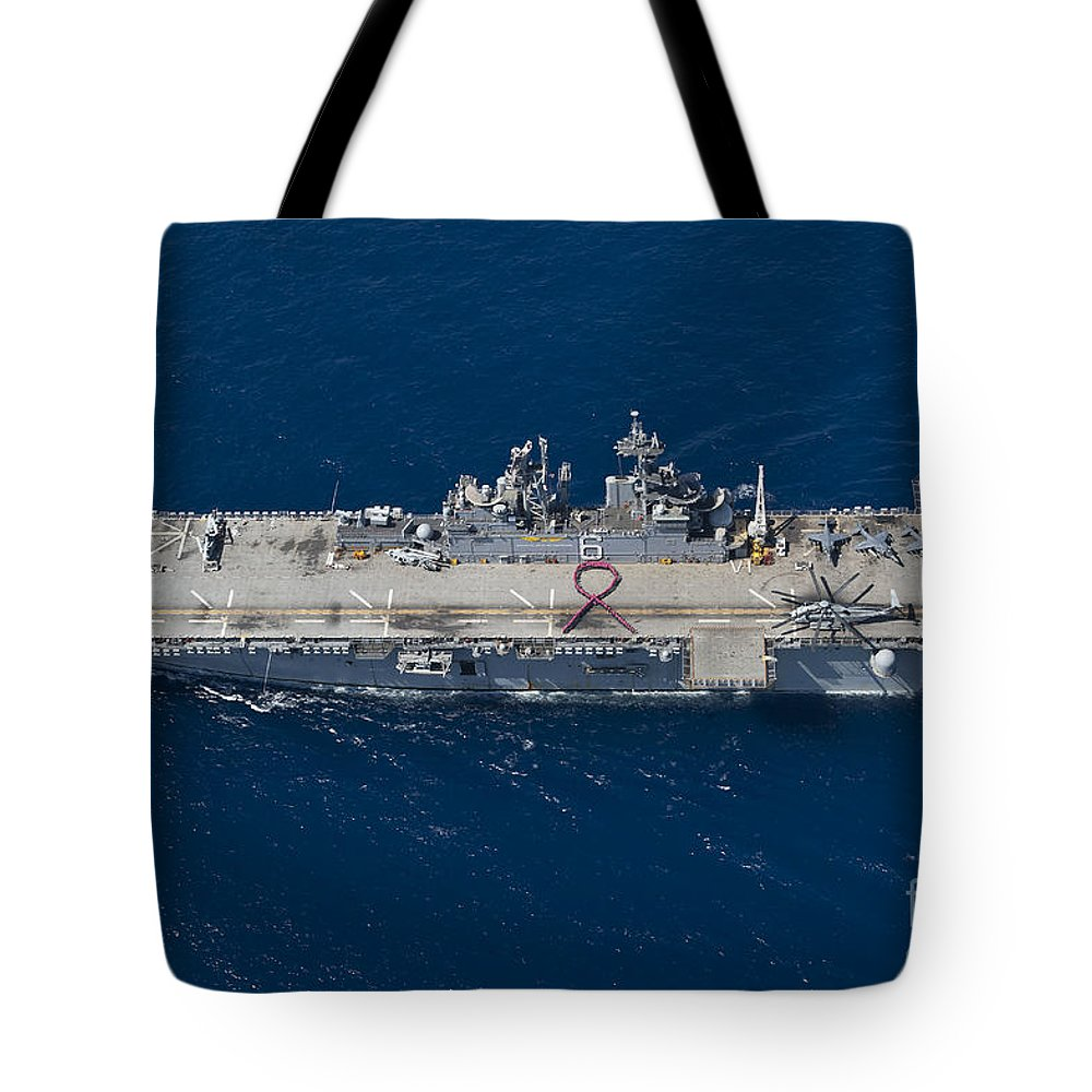 Military Tote Bag featuring the photograph Amphibious Assault Ship Uss Bonhomme by Stocktrek Images