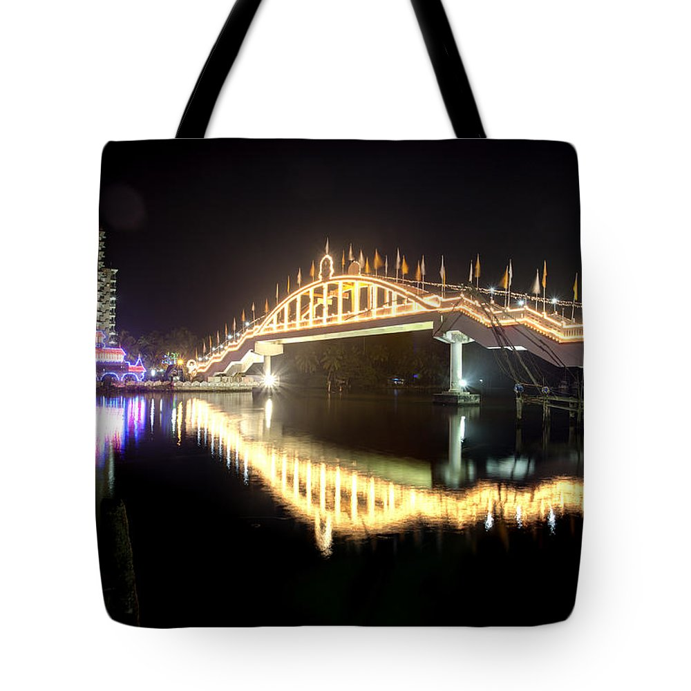 Amritapuri Tote Bag featuring the photograph Amritasetu Lights by Sonny Marcyan