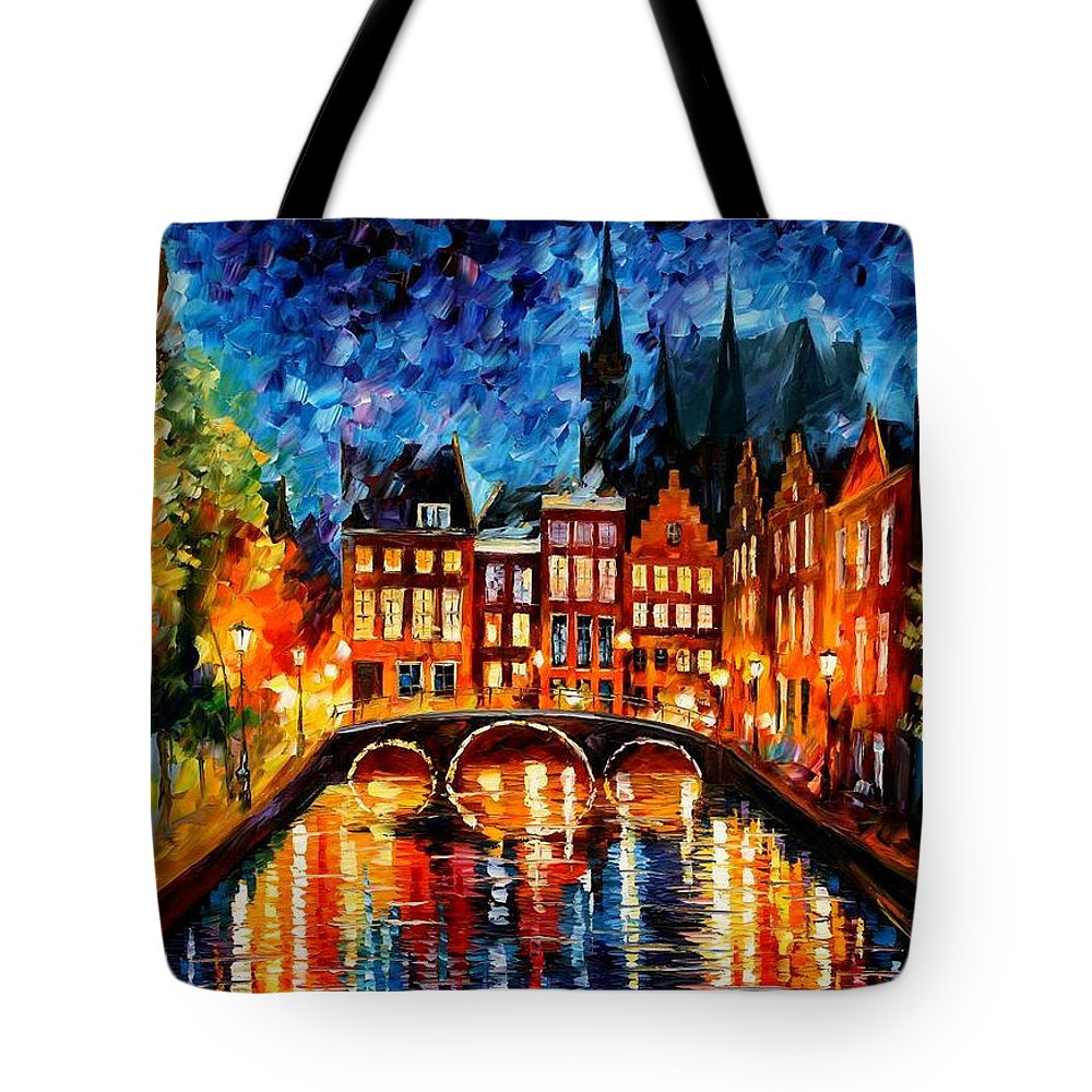 Oil Paintings Tote Bag featuring the painting Amsterdam-canal - Palette Knife Oil Painting On Canvas By Leonid Afremov by Leonid Afremov