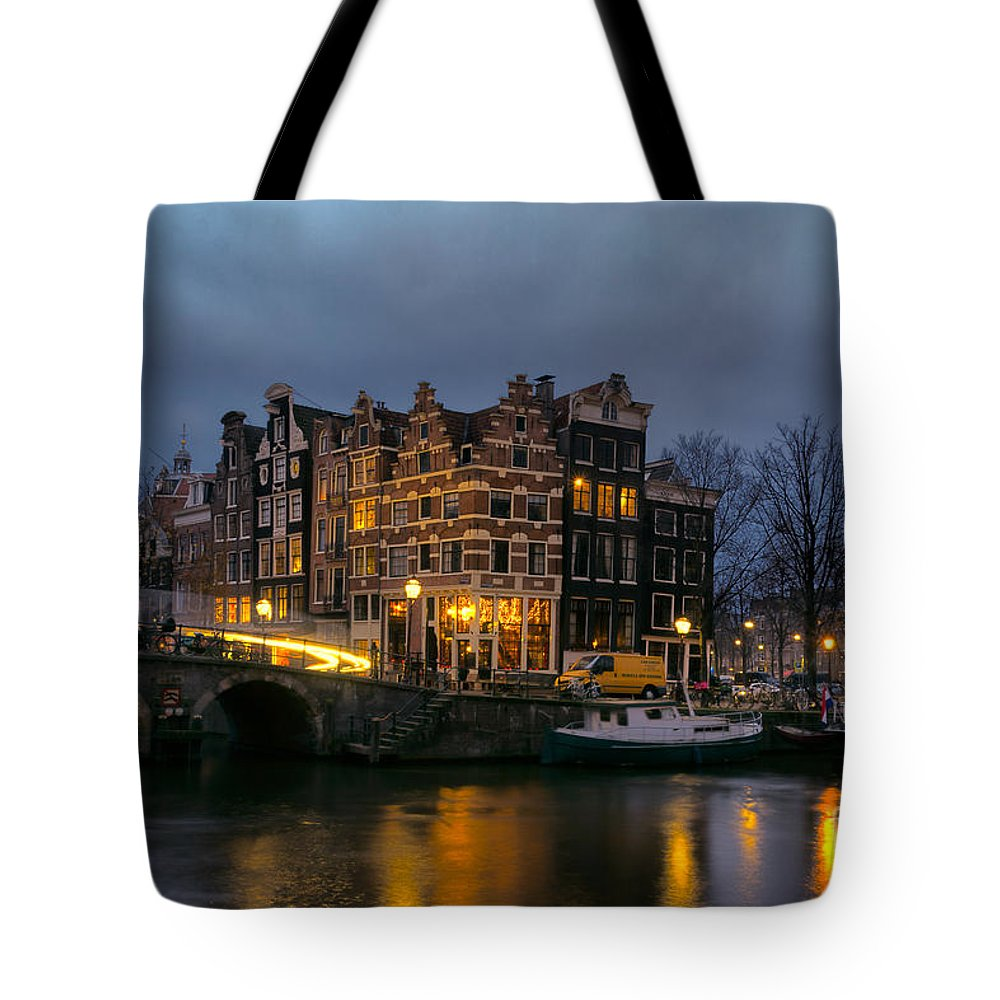 Amsterdam Corner Cafe Tote Bag featuring the photograph Amsterdam Corner Cafe by Ann Garrett