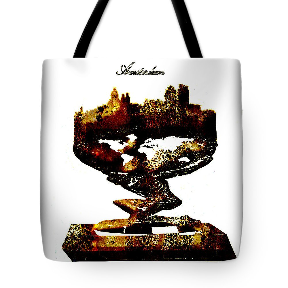 Amsterdam Tote Bag featuring the digital art Amsterdam Golden Statue by Brian Reaves
