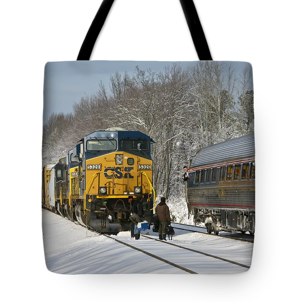Amtrak Tote Bag featuring the photograph Amtrak And Csx Crews by Cliff Middlebrook