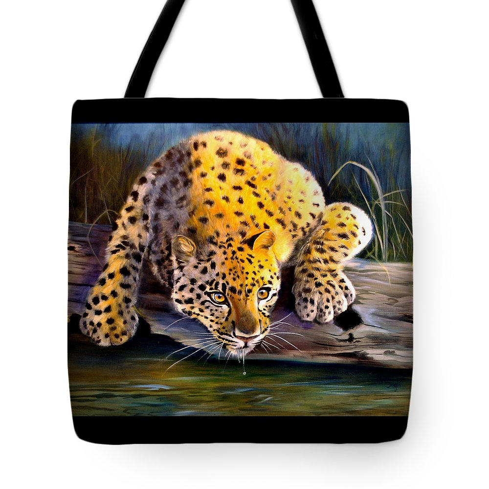 Big Cats Tote Bag featuring the painting Amur Leopard Spotted Something by Pamela Bergen
