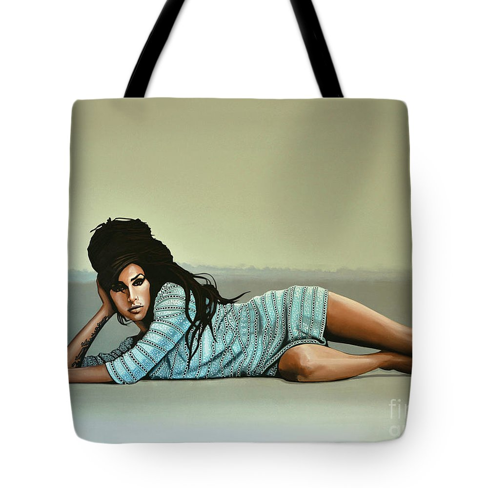Amy Winehouse Tote Bag featuring the painting Amy Winehouse 2 by Paul Meijering