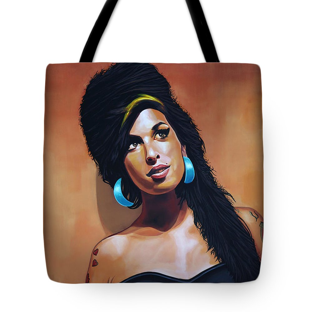 Amy Winehouse Tote Bag featuring the painting Amy Winehouse by Paul Meijering