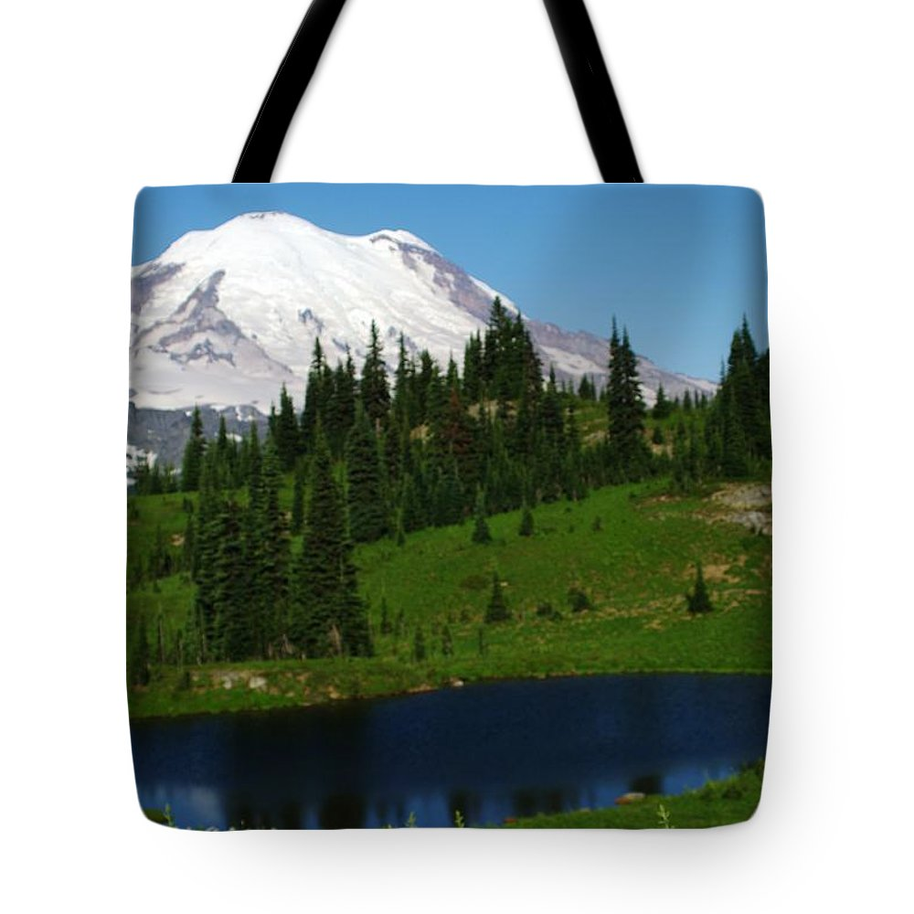 Mountains. Mount Rainer Tote Bag featuring the photograph An Alpine Lake Foreground Mt Rainer by Jeff Swan