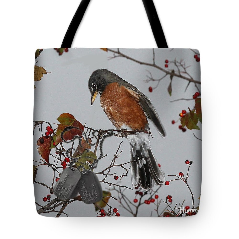 Unique Tote Bag featuring the digital art An American Robin Remembers by Diane V Bouse