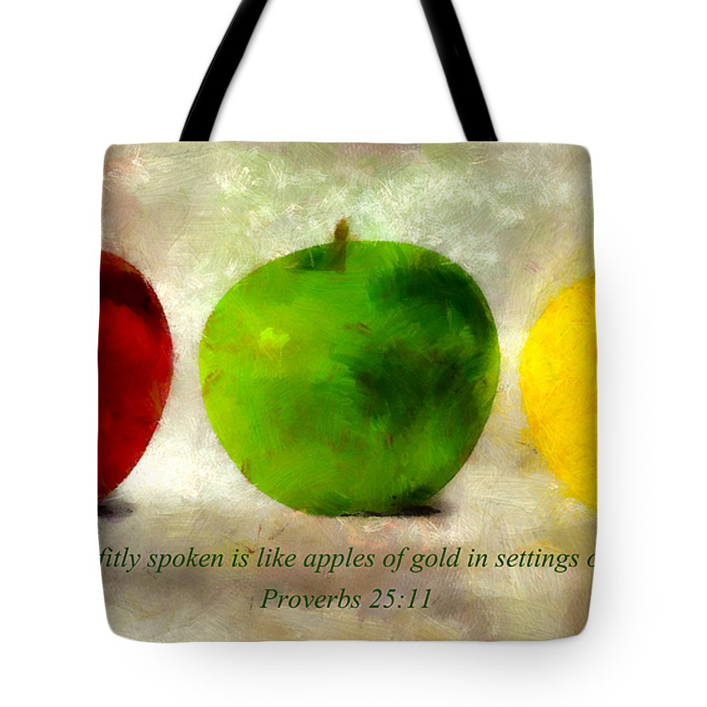 Apple Tote Bag featuring the mixed media An Apple A Day With Proverbs by Angelina Vick