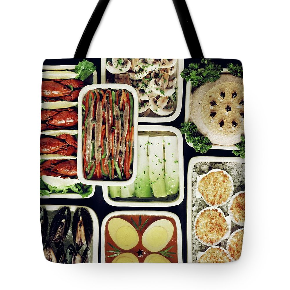 Food Tote Bag featuring the photograph An Assortment Of Food In Containers by John Stewart