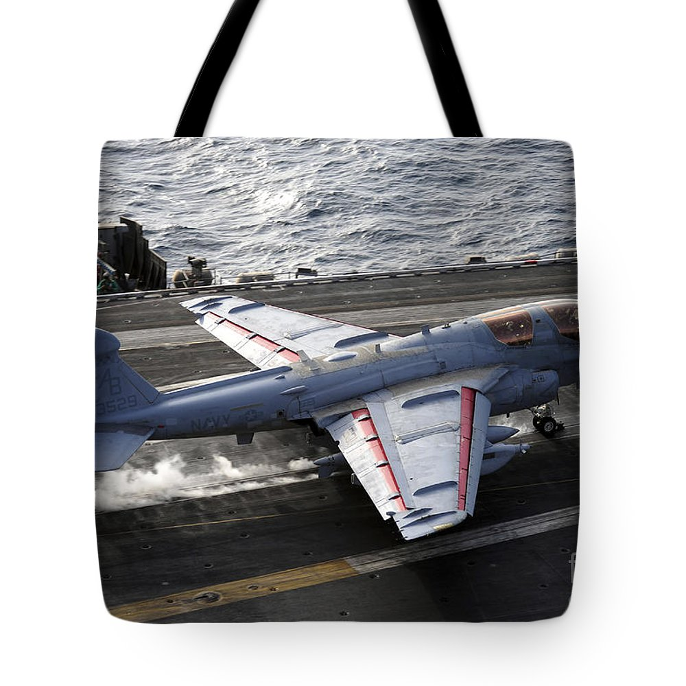 Catapult Tote Bag featuring the photograph An Ea-6b Prowler Takes by Stocktrek Images