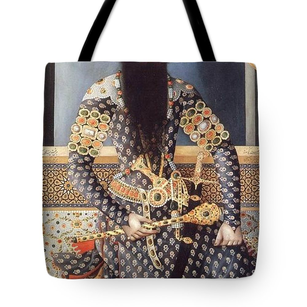 Fath Ali Shah Tote Bag featuring the painting An Early Painting Of Fath Ali Shah by Celestial Images
