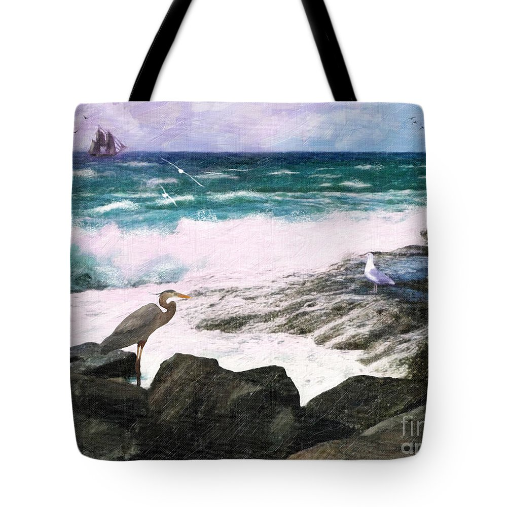 Seascape Tote Bag featuring the digital art An Egret's View Seascape by Lianne Schneider