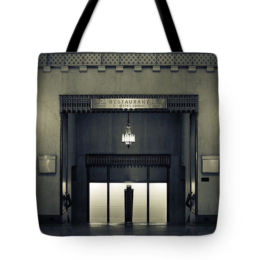 Black And White Photography Tote Bag featuring the photograph An Elegant Escape - Chicago by Melanie Alexandra Price