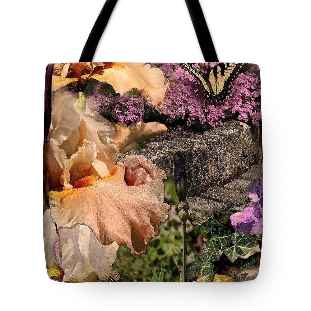 Flowers Tote Bag featuring the digital art An Iris Surprise Center by Paul Gentille