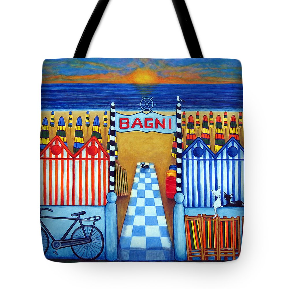 Italy Tote Bag featuring the painting An Italian Summer's End by Lisa Lorenz
