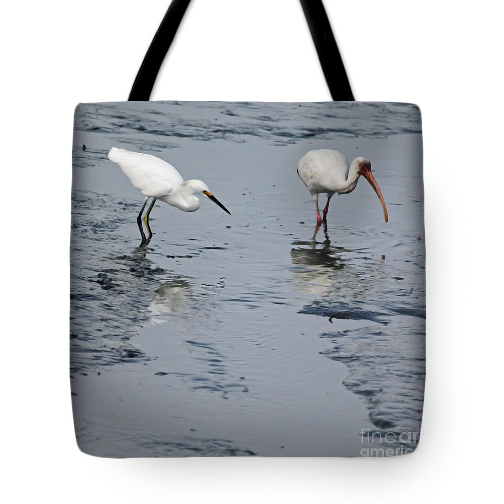 Egret Tote Bag featuring the photograph An Odd Pair by Suzanne Gaff