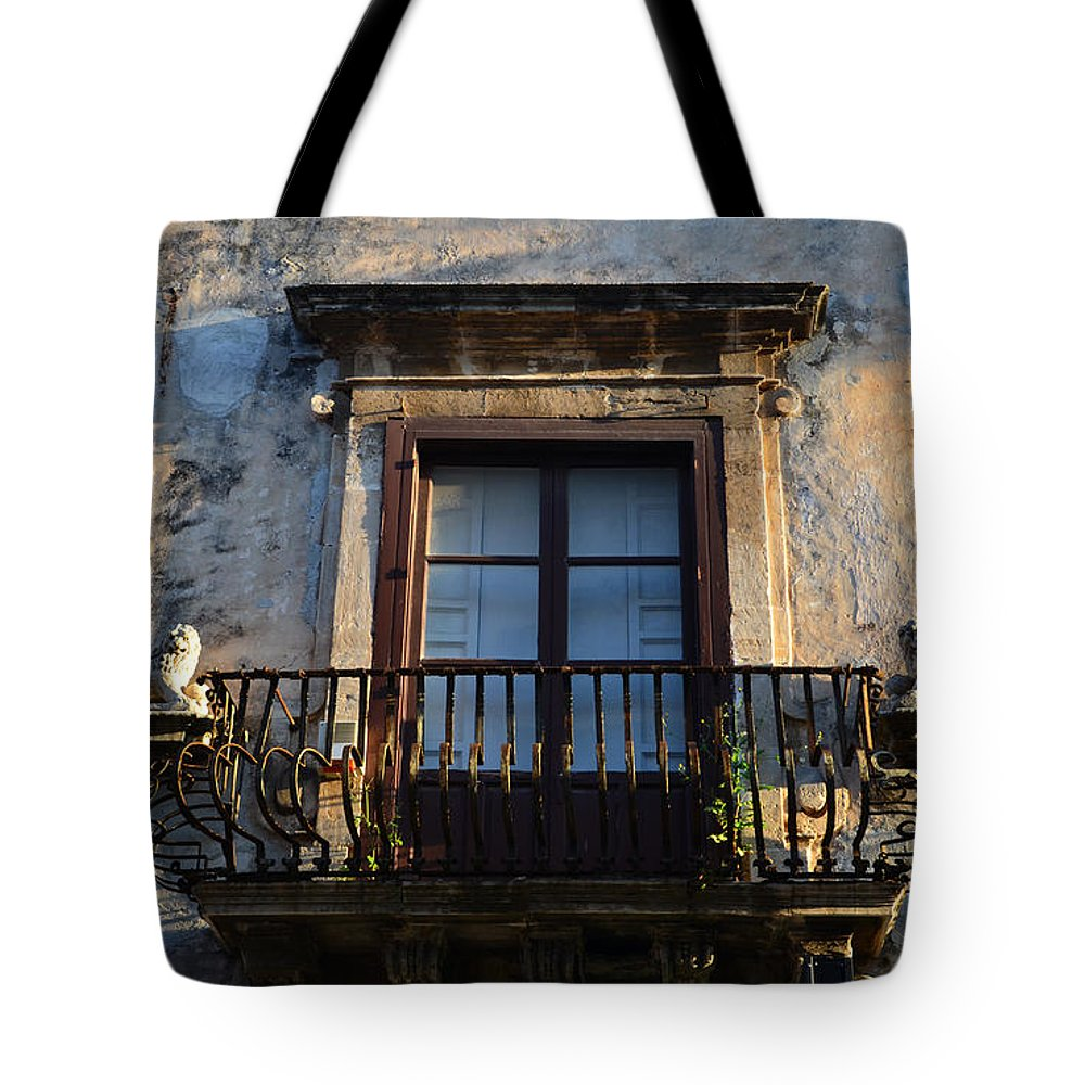Balcony Tote Bag featuring the photograph An Old Balcony In Syracuse by RicardMN Photography