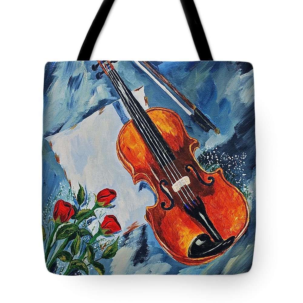 Violin Roses Red Roes Tote Bag featuring the painting An Old Song 2 by Herschel Fall